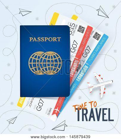 Travel business trip concept. Passport with tickets. Air travel concept. Business travel illustration. Flat Design
