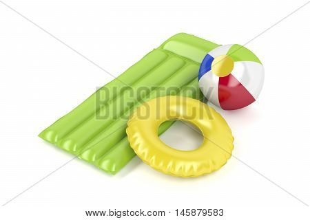 Pool raft beach ball and swim ring on white background, 3D illustration