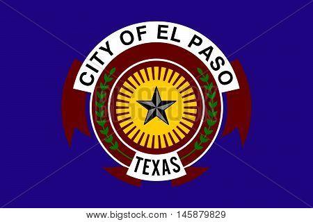 Flag of El Paso in Texas United States