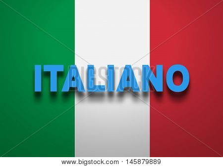 Speaking Italian conceptual background, text and flag