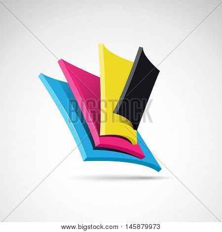 Vector abstract shape CMYK colors for printer