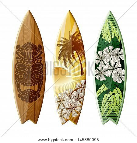 Set of surfboards with original design with color print EPS 10 contains transparency.