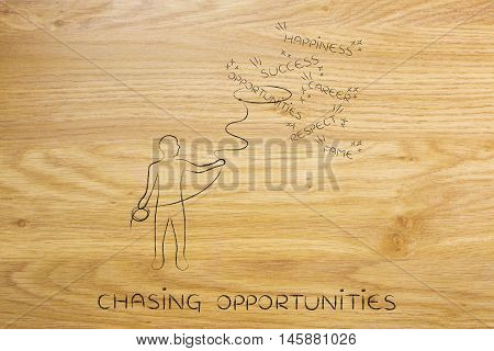 Person With Lasso Catching Opportunities, Concept Of Becoming Successful