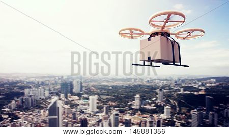 Photo Yellow Generic Design Remote Control Air Drone Flying Blue Sky Blank Craft Box Under Urban Surface.Modern City Background.Gifts Fast Delivery.Horizontal, Left Side View.Film Effect.3D rendering