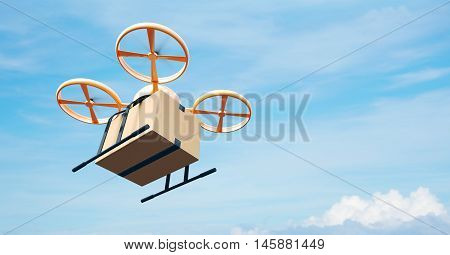 Photo Yellow Generic Design Modern Remote Control Air Drone Flying Empty Craft Box Under Urban Surface.Blue Sky Clouds Background.Express Fast Delivery Service.Left Angle View.Film Effect.3D rendering