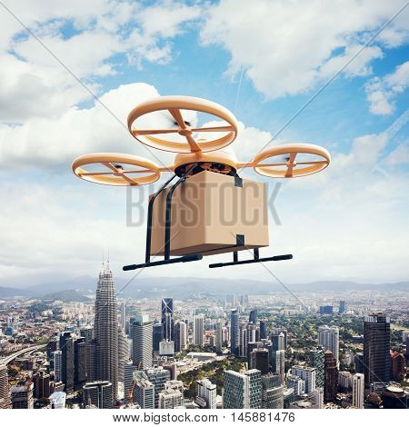 Photo Yellow Generic Design Remote Control Air Drone Flying Sky Empty Craft Box Under Urban Surface.Modern City Background.Online Goods Express Delivery.Square, Left Side View.Film Effect.3D rendering