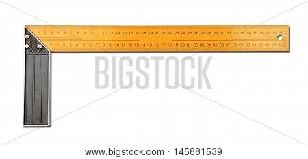 Metal black and yellow centimeter set-square isolated on a white background
