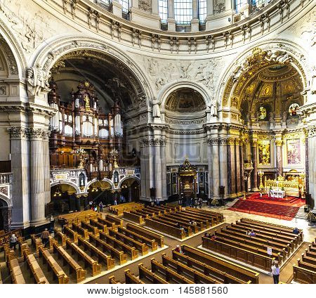 People Visit The Berliner Dom From Inside