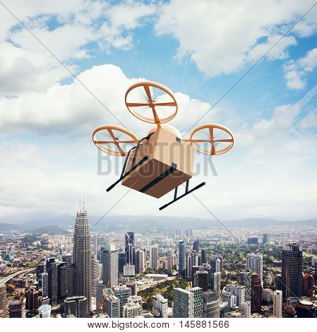 Photo Yellow Generic Design Remote Control Air Drone Flying Sky Empty Craft Box Under Urban Surface.Modern City Background.Global Logistic Express Delivery.Square, Top View.Film Effect.3D rendering