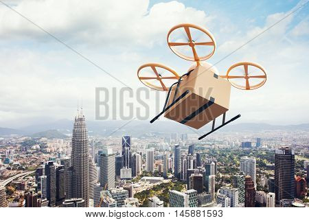 Image Yellow Generic Design Modern Remote Control Air Drone Flying Empty Craft Box Under Urban Surface.Blue Sky Clouds Background.Express Fast Delivery Service.Wide, Angle View.Film Effect.3D rendering