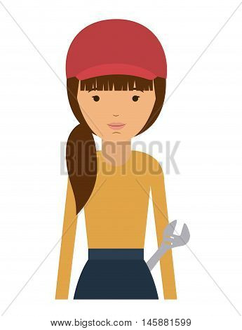 repair woman and cartoon icon. profession worker and occupation theme. Isolated design. Vector illustration