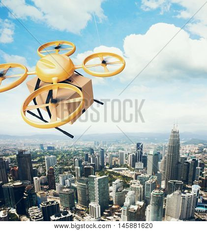Photo Yellow Generic Design Remote Control Air Drone Flying Sky Empty Craft Box Under Urban Surface.Modern City Background.Global Logistic Express Delivery.Square, Top Angle View.3D rendering