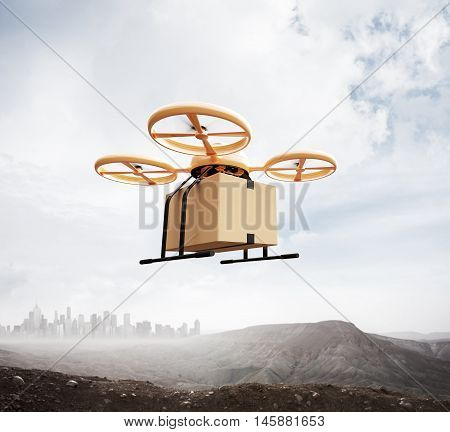 Photo Yellow Color Generic Design Remote Control Air Drone Flying Sky Blank Craft Box Under Earth Surface.Modern City Background.Global Logistic Express Delivery.Square, Front Side View.3D rendering