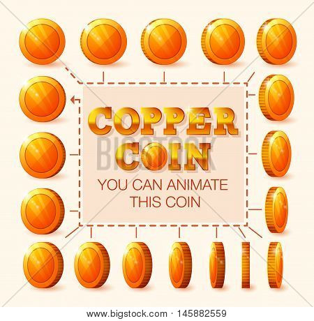 Coins rotation frames for web game or app interface. Copper coins. Coins for animation.