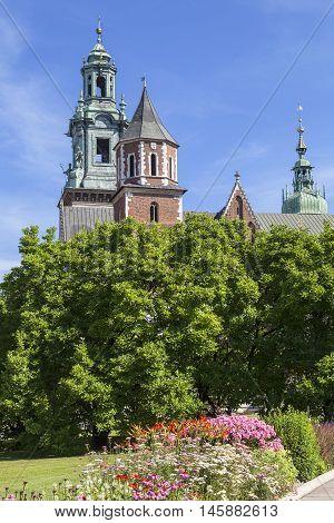 Wawel Cathedral - coronation place of Polish kings- on Wawel Hill,  Krakow, Poland