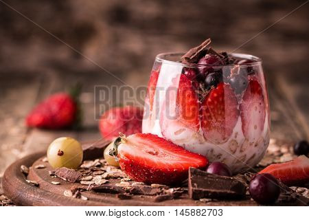 Breakfast Parfait With Homemade Granola And Yogurt On Wooden Table , Healthy Food