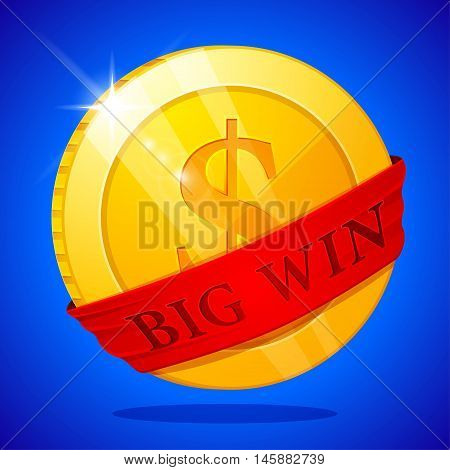 Big win poster with golden coin. Big Win banner. playing cards slots and roulette.