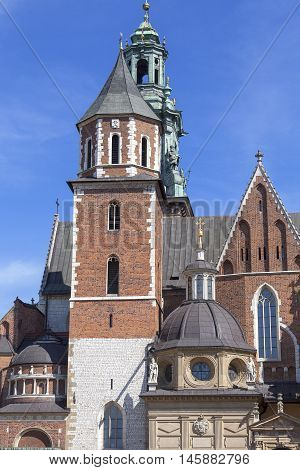 Wawel Cathedral - coronation place of Polish kings- on Wawel Hill,  Krakow, Poland