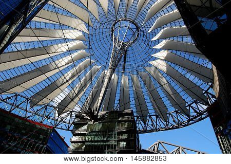 Berlin Germany - June 19 2010: Fibre glass elliptical roof with white sails designed by Helmut Jahn at the SONY Center in Potsdamer Platz