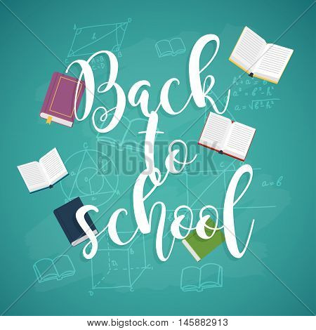 Back to school illustration with books and formulas on the background.