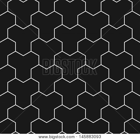 Paving stone seamless pattern in black and white. Tessellating Y tiles