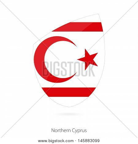 Flag of Northern Cyprus in the style of Rugby icon. Vector Illustration.