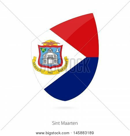 Flag of Sint Maarten in the style of Rugby icon. Vector Illustration.