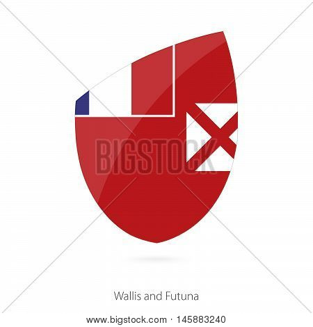 Flag of Wallis and Futuna in the style of Rugby icon. Vector Illustration.