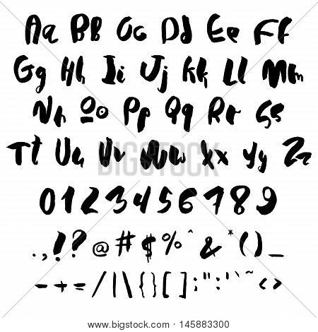Handwritten trendy vector alphabet set. Playful calligraphic characters uppercase, lowercase, numerals and punctuations signs. Black symbols shapes isolated on white background.