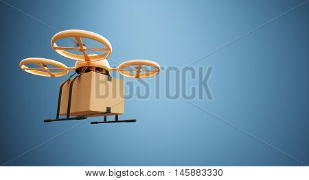 Photo Orange Color Material Generic Design Remote Control Air Drone Flying Craft Box Under Empty Surface.Blank Blue Background.Global Cargo Express Delivery.Wide, Left Side Angle View.3D rendering