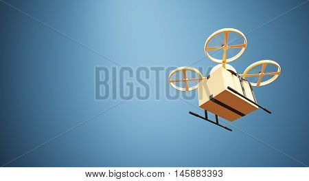 Photo Orange Color Material Generic Design Remote Control Air Drone Flying Craft Box Under Empty Surface.Blank Blue Background.Global Cargo Express Delivery.Wide, Bottom Angle View.3D rendering