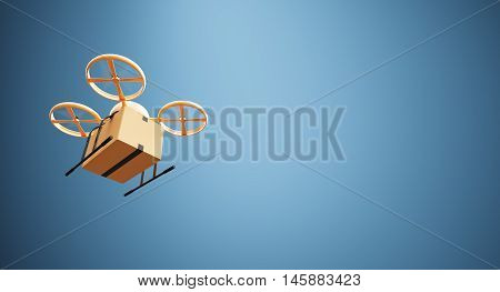 Photo Orange Color Material Generic Design Remote Control Air Drone Flying Craft Box Under Empty Surface.Blank Blue Background.Global Cargo Express Delivery.Wide, Bottom View Device. 3D rendering