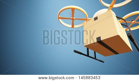 Photo Orange Color Material Generic Design Remote Control Air Drone Flying Craft Box Under Empty Surface.Blank Blue Background.Global Cargo Express Delivery.Wide, Front Bottom Angle View. 3D rendering