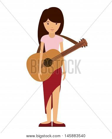 guitar player woman and cartoon icon. profession worker and occupation theme. Isolated design. Vector illustration