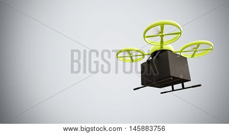 Green Color Material Generic Design Remote Control Air Drone Flying Black Box Under Empty Surface.Blank White Background.Global Cargo Express Delivery.Wide, Motion Blur.Right Side View. 3D rendering