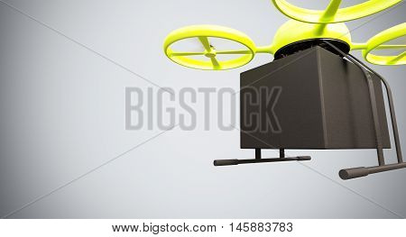 Green Color Material Generic Design Remote Control Air Drone Flying Black Box Under Empty Surface.Blank White Background.Global Cargo Express Delivery.Wide, Motion Blur.Front View. 3D rendering