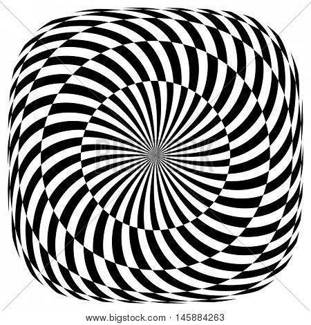Op art pattern. Rotation illusion. Vector illustration.