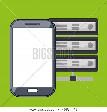 smartphone data base icon vector illustration eps10