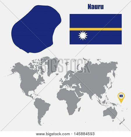 Nauru map on a world map with flag and map pointer. Vector illustration
