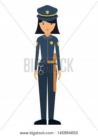 police woman and cartoon icon. profession worker and occupation theme. Isolated design. Vector illustration