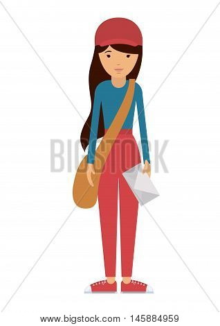 delivery woman and cartoon icon. profession worker and occupation theme. Isolated design. Vector illustration