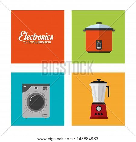 washer blender and cooker icon. electronic appliances and supplies for your home theme.Colorful design. Vector illustration