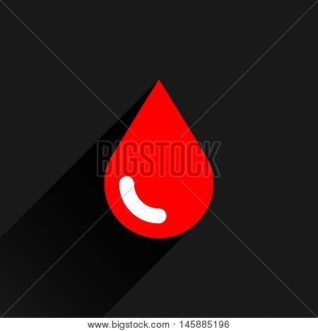 Red color drop icon with black long shadow on dark gray background. Blood sign in simple solid plain flat style. This vector illustration graphic web design graphic element saved in 8 eps