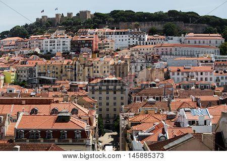 Sunny Jorge Castelo de Sao and buildings in Lisbon.