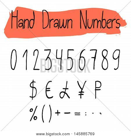 Handwritten simple vector numerals set. Handdrawn thin numbers, percent, currency and math signs. Black symbols shapes isolated on white background.
