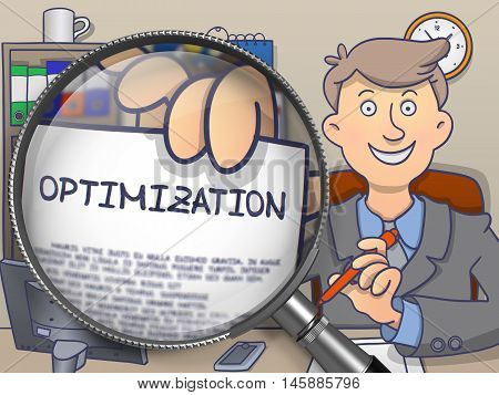 Optimization. Businessman Holds Out a Concept on Paper through Magnifying Glass. Colored Modern Line Illustration in Doodle Style.