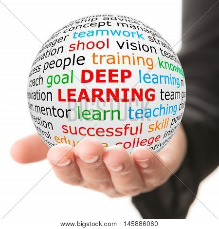 Deep Learning concept. Hand take white ball with wordcloud and Deep Learning inscription in red color.