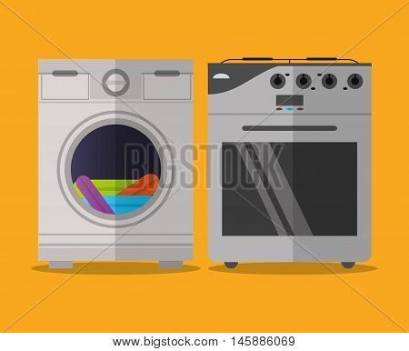 stove and washer icon. electronic appliances and supplies for your home theme.Colorful design. Vector illustration