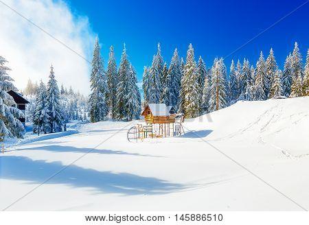 Game Children's Complex in beautiful mountain snowy landscape