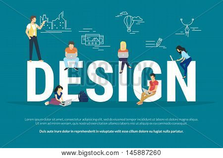 Design concept illustration of young people using laptops and computers for creating designs. Flat design of guys and young women standing near big letters on blue background